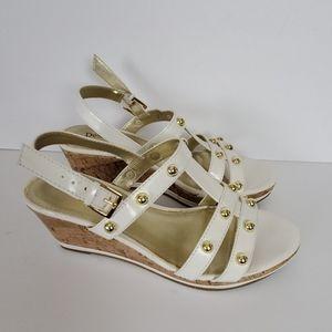 Dexter White Gold & Cork Sandal Wedges